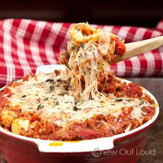 Cheesy Baked Tortellini Casserole.