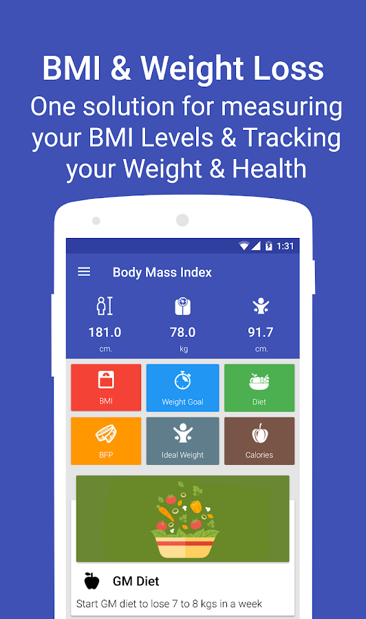 Body Mass Index - Weight loss, Calorie Counter - Android ...