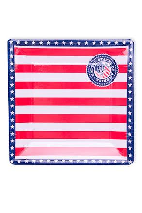 USA Tallrik Fyrkantig 25 cm, 8st.