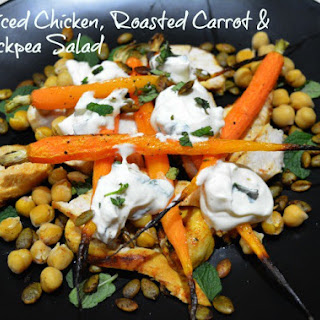 Spiced Chicken Roasted Carrot and Chickpea Salad