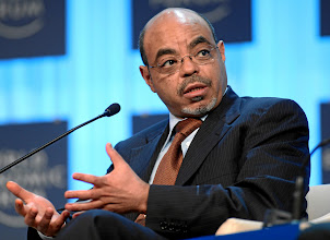 Photo: DAVOS/SWITZERLAND, 26JAN12 - Meles Zenawi, Prime Minister of Ethiopia speaks during the session 'Africa -- From Transition to Transformationy' at the Annual Meeting 2012 of the World Economic Forum at the congress centre in Davos, Switzerland, January 26, 2012.  Copyright by World Economic Forum swiss-image.ch/Photo by Monika Flueckiger