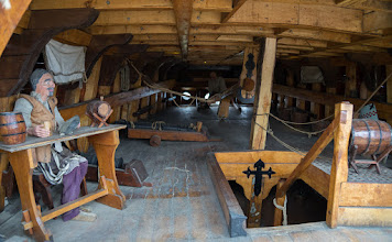 Photo: The Victoria was a 3-masted Spanish Carrack.  Although only 70 feet long, the ship had 5 decks.  This is the aft portion of the main deck, showing a portion of the rudder assembly.