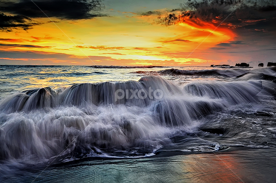 Dusk by Hendri Suhandi - Landscapes Waterscapes ( clouds, bali, splash, sunset, wave, tide, beach, motion, dusk )