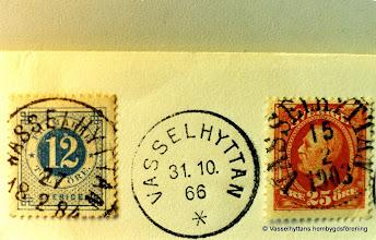 Photo: Järnvägsstationen i Vasselhyttan. Poststämplar från 1966