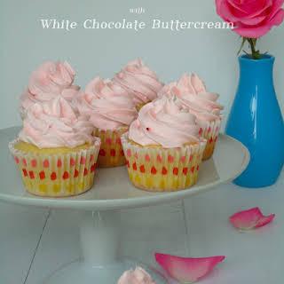White Chocolate Rose Cupcakes.