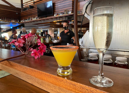 tropical-drink.jpg - A tropical drink and persecco hit the spot at Papa Kona in Kailua-Kona.