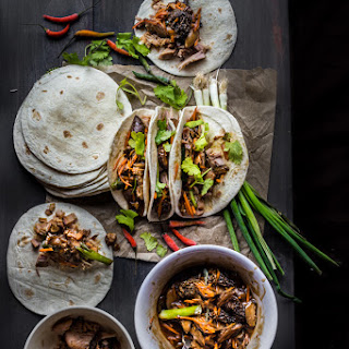 Slow-cooked Miso Pulled Pork And Mushroom Medleys Taco.