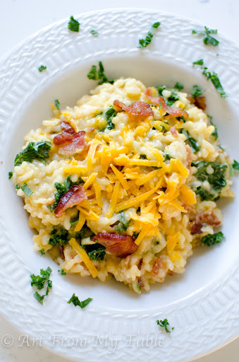 Risotto With Cheddar, Bacon, And Greens