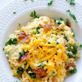 Risotto with Cheddar, Bacon, and Greens Recipe