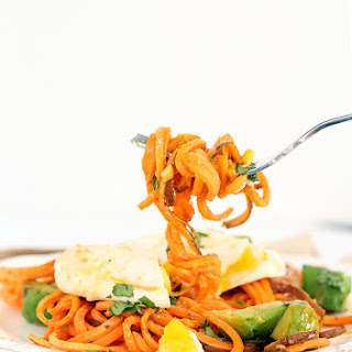 Spiralized Paleo Eggs Benedict with Roasted Sweet Potato Noodles, Avocado and Chipotle Hollandaise