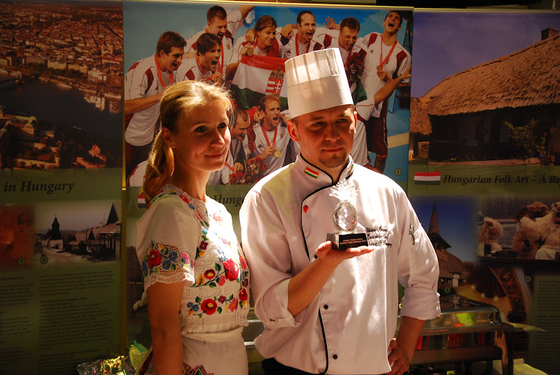 Photo: Chef Viktor Merényi from the Embassy of Hungary, and his wife Zita Merényi-Bolla shows off his Judges Choice award. Photo by Don Tanguilig.