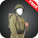 WW 2 soldier suit photomontage icon