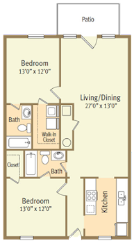 Go to Two Bed, Two Bath C Spicewood Floorplan page.