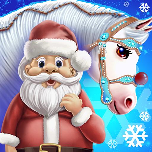 Santa Horse Caring Icon