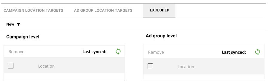 Bing Ads geographic locations Excluded tab shown in context with Campaign and Ad group location targets tabs