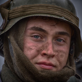 by Marco Bertamé - People Portraits of Men ( ww2, soldier, young, headshot, helmet, muddy, man, portrait, mud )