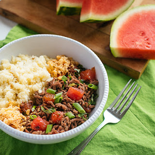 DaiLo Pork & Fried Watermelon with Cauliflower Rice