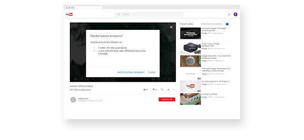 """Schermata di un video di YouTube con il callout """"Perché questo annuncio?"""""""
