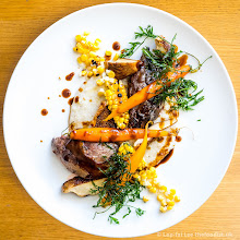 Photo: Grouse, corn, grits, carrots and abalone mushrooms