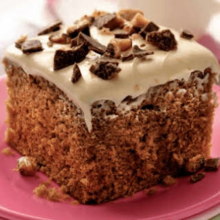 Coffee Toffee Cake With Caramel Frosting.