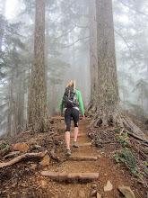 Photo: Megan in the clouds - Mt. Ellinor training hike