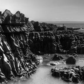 Sea Fishing on the Jurassic Coast by Doug Faraday-Reeves - Black & White Landscapes ( angling, jurassic, erosion, seascape, coastline )