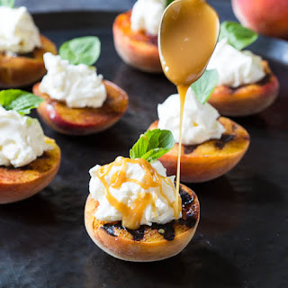 Grilled Peaches with Mascarpone Whipped Cream.