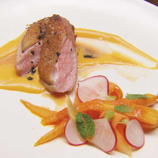 Duck Breast with Pumpkin Puree, Orange Carrots