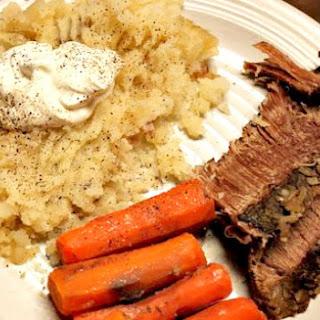 Roast, Potatoes and Carrots.