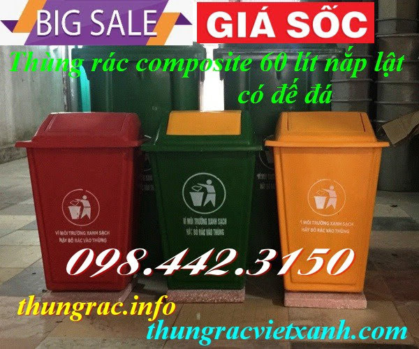 Thùng rác 60 lít nắp lật nhựa composite có đế đá