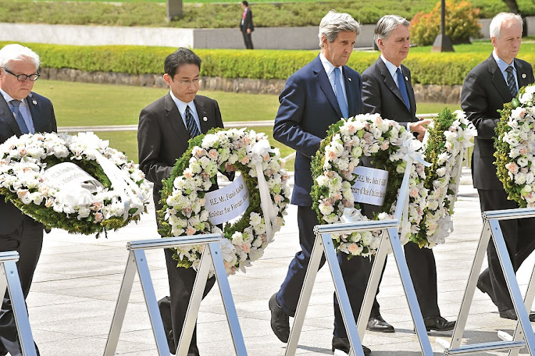 Foreign ministers of Germany, Japan, the UK and Canada visit Hiroshima with US secretary of state John Kerry to offer wreaths at a  memorial for victims of the 1945 atomic bomb dropped by the US. Picture: GALLO IMAGES/AFP/KAZUHIRO NOGI