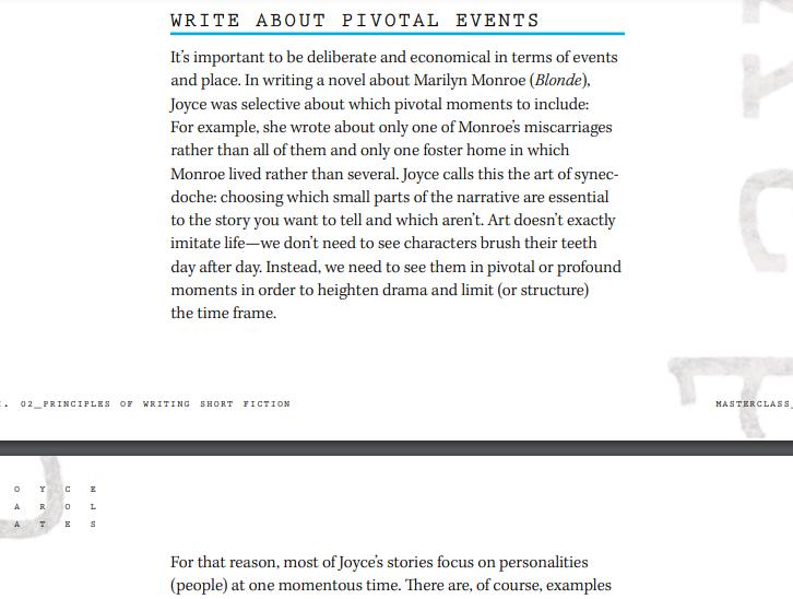 Joyce Carol Oates Masterclass Review - Write about pivotel events