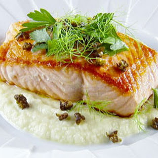 Pan-Roasted Salmon with Fennel Puree.
