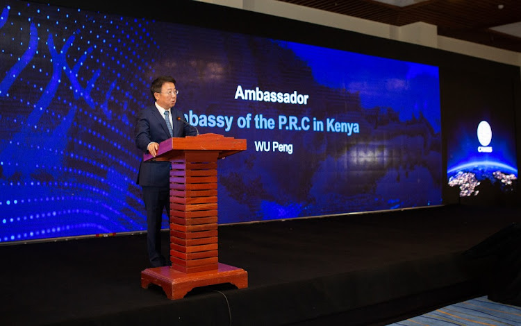 Wu Peng, Ambassador of the P.R.C to Kenya speaks at the the First China-Africa Mobile Internet Economy Summit