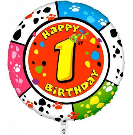 Folieballong - Happy 1st Birthday, animaloons