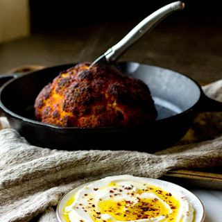 Roasted Cauliflower with Whipped Goat Cheese and Chili Oil
