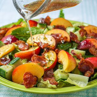 Honey Lemon Vinaigrette on Peach Cucumber Salad