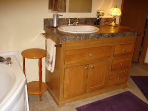 Photo: One of the two spacious sinks and counter tops in the master bath