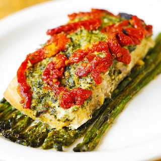 Pesto Sea Bass and Veggies.