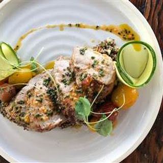 Pecan-Crusted Fish with Crab Salad and Crushed Corn Sauce.