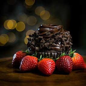 Holiday dessert by Rodney Rodriguez - Food & Drink Candy & Dessert ( cake, chocolate, cupcake, strawberries, holidays, strawberry, bokeh, dessert,  )