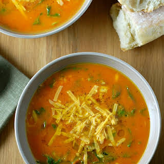 Carrot Cheddar Soup with Kale.