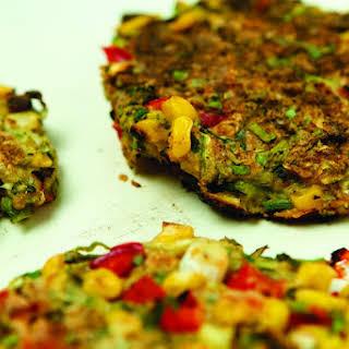 Zucchini, Corn and Red Pepper Pancakes [Vegan].