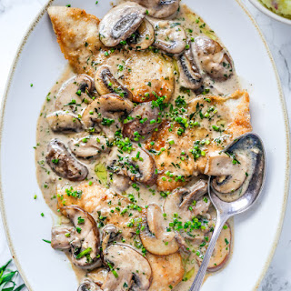 Chicken with Mushroom and Tarragon Cream Sauce.