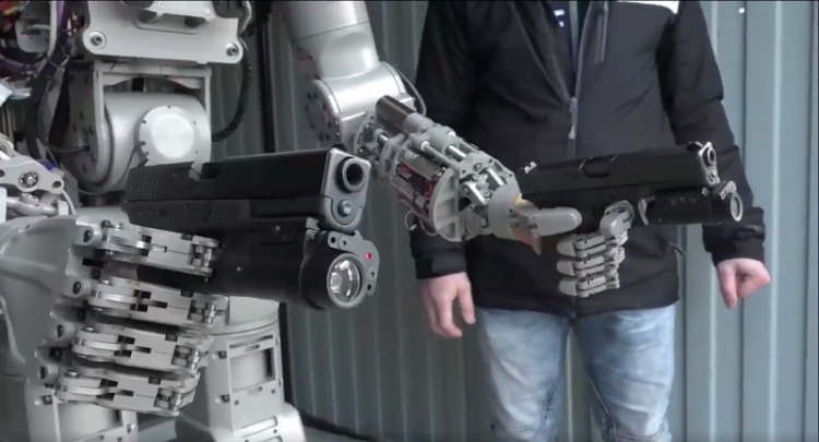 Russia's FEDOR robot, which can fire weapons is demonstrated. Picture: SUPPLIED