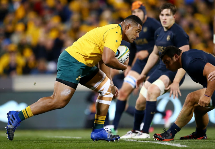 Scott Sio of the Wallabies runs the ball during The Rugby Championship match between the Australian Wallabies and the Argentina Pumas at Canberra Stadium on September 16, 2017 in Canberra, Australia.