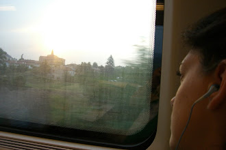 Photo: Teresa on the train ride from Venice to Florence, Italy