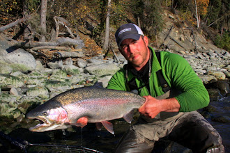 Photo: Nick Ohlrich of Alaska Drift Away Fishing with a 30 inch rainbow trout from the middle Kenai river.