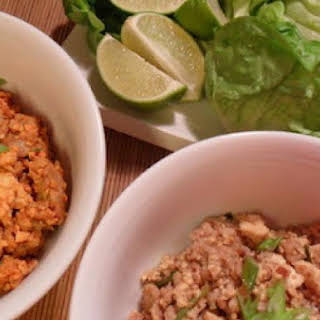 Asian Lettuce Wraps w Hoisin-Peanut Sauce.