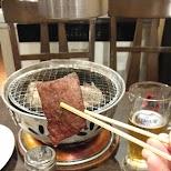 grilling my beef in Tokyo, Tokyo, Japan